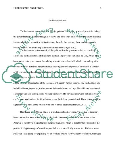 health care reform essay example  topics and well written essays  health care reform
