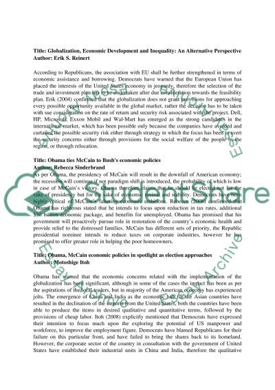 Globalization and Economic Policy Essay example