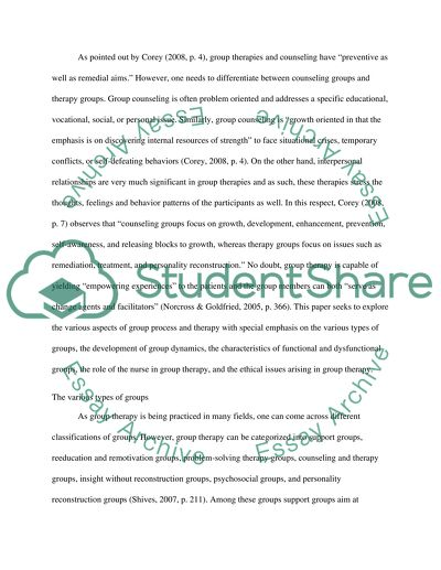 Advanced Nursing Skills - Group Process and Therapy