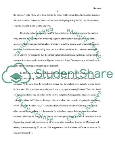 Editorial article on school uniform