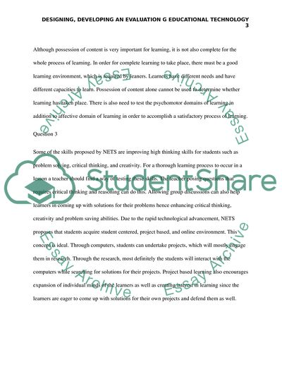 Designing, Developing an Evaluation g Educational Technology