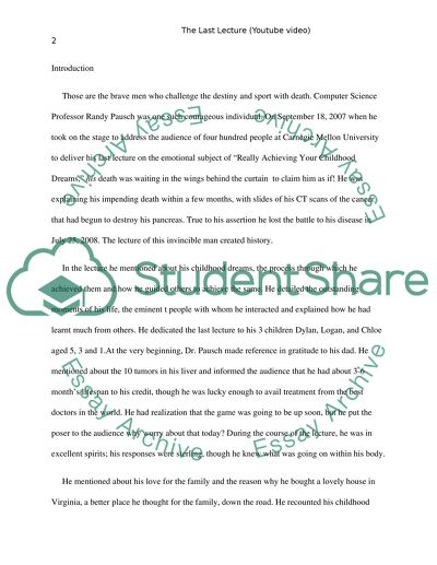How To Write Science Essay The Last Lecture Youtube Video My English Essay also Essays Written By High School Students The Last Lecture Youtube Video Essay Example  Topics And Well  English Class Essay