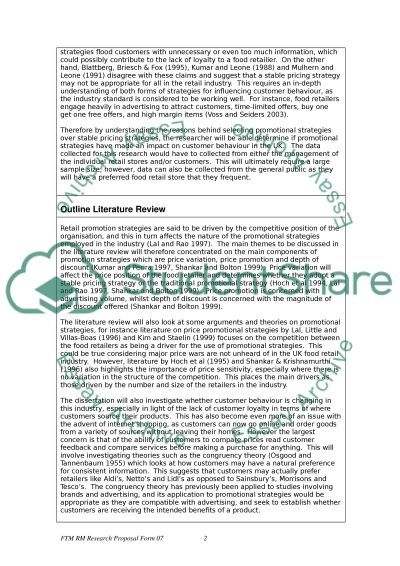Retail Marketing (food retail industry) essay example