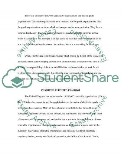 Charitable Organizations Essay example
