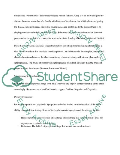 schizophrenia research paper example