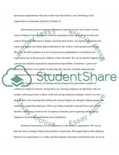 Employee Burnout Essay example