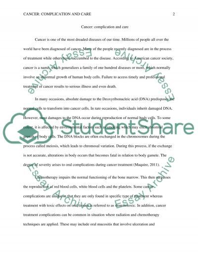 Cancer: Complication and Care essay example