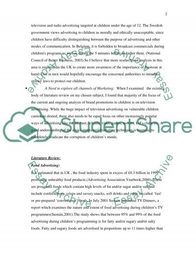 Food Advertising and Marketing essay example