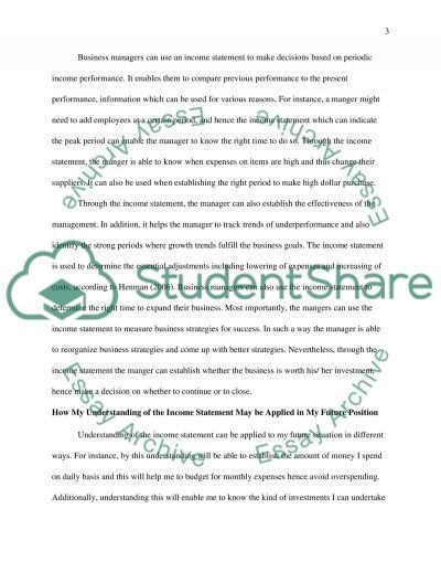 Application of Financial Statement essay example
