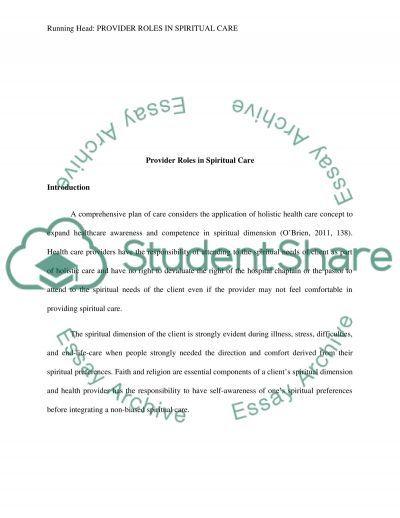Provider Roles in Spiritual Care essay example