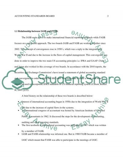 Accounting Standards Boards essay example