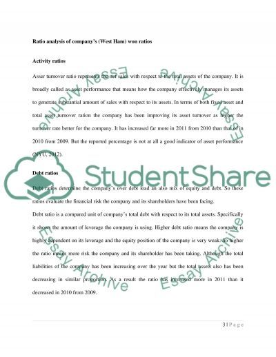 Analyze and Compare Ratios of West Ham essay example