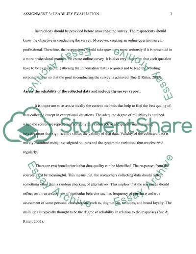 Usability Evaluation Essay example