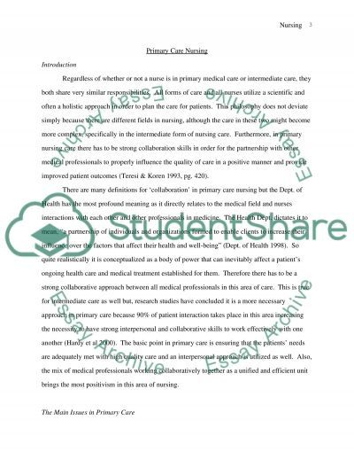 Primary Care Nursing essay example