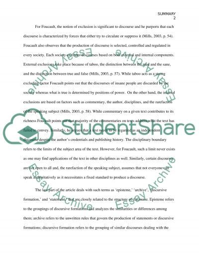 Summary of attached document essay example