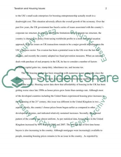Taxation and Housing Issues essay example