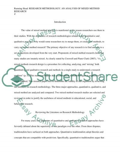 Research methodology: an analysis of mixed method research essay example