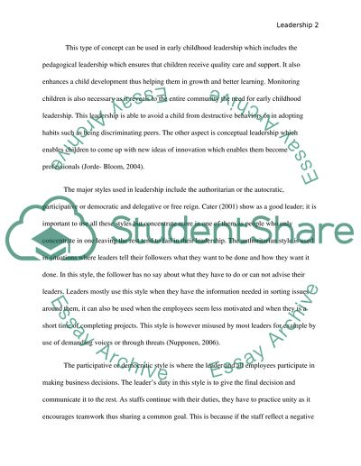 Leadership In Early Childhood Essay Example  Topics And Well  Leadership In Early Childhood Thesis Statement Example For Essays also Business Essay Examples  Persuasive Essay Sample Paper