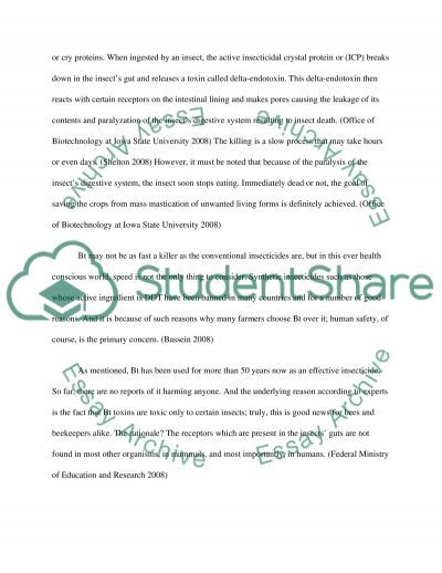 Uses of Bt insect resistance in agriculture essay example