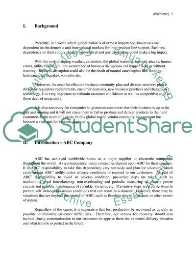 Dissertation business continuity