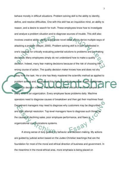 Personal Values Development essay example