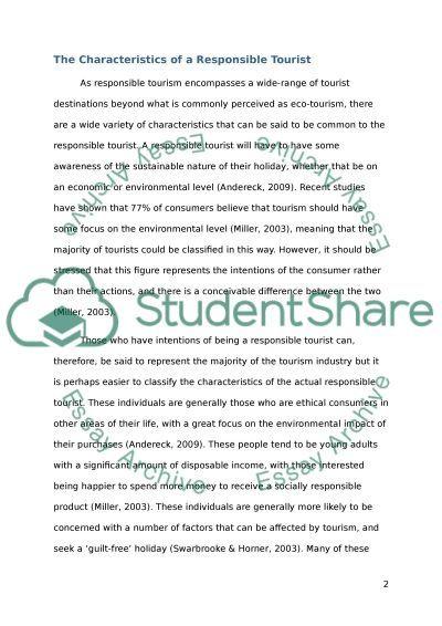 Consumers Attitudes and Behaviour Towards Responsible Tourism essay example