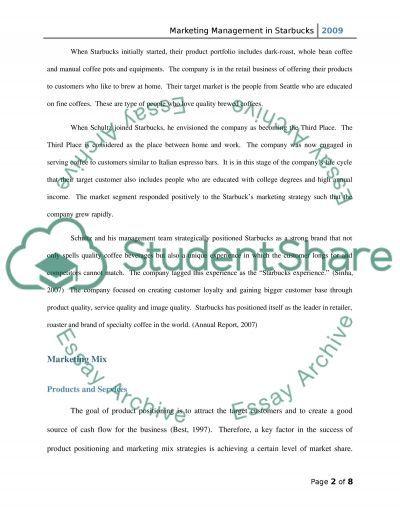 Marketing Management in Starbucks essay example