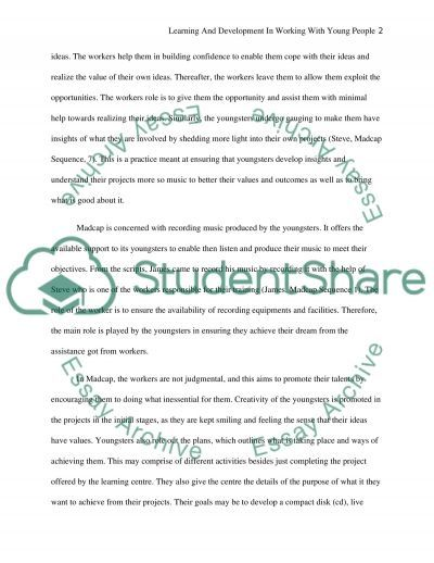 Learning and development in working with young people essay example