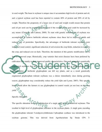 Biotechnology Genetically Engineered Soybeans essay example