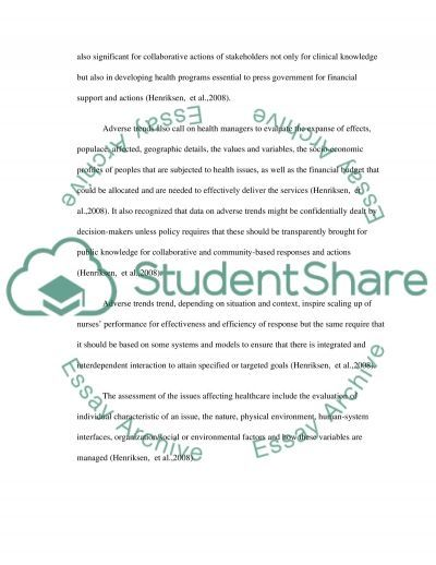 Adverse Trend and Data Management essay example
