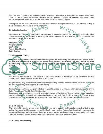 Management Accounts essay example