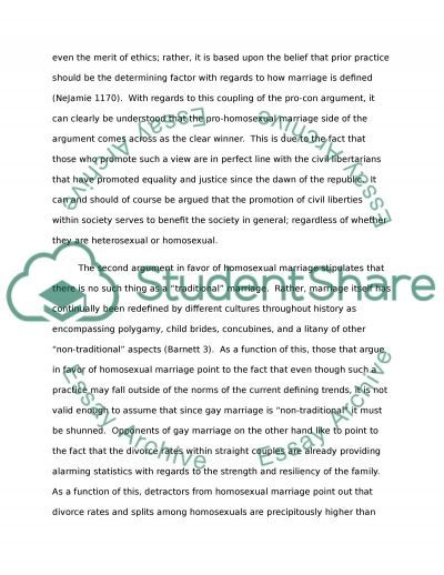Gay Marriage - A pro-approach to the subject essay example