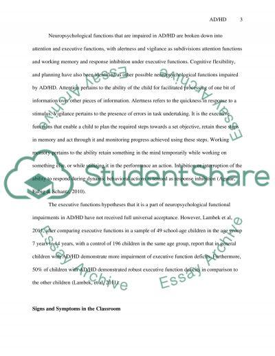 Elementary School Children Attention Deficit Hyperactivity Disorder (AD/HD) essay example