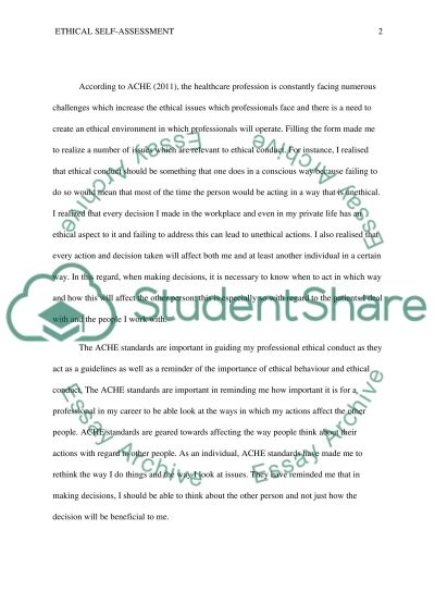 Ethical Self-Assessment essay example