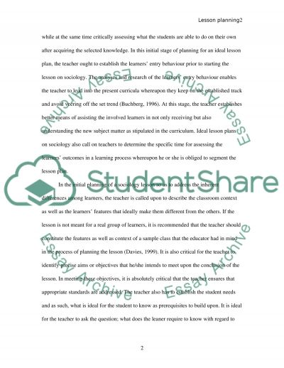 Analyse and discuss lesson planning essay example