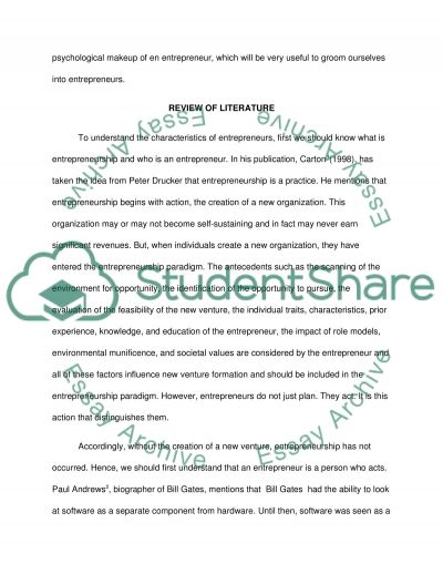 One written project on the theme of one selected characteristic associated with the Business Entrepreneur and researched in the context of one noteworthy entrep essay example