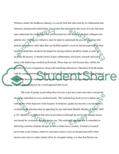 Interprofessional in Nursing (Mental Health Nursing) essay example
