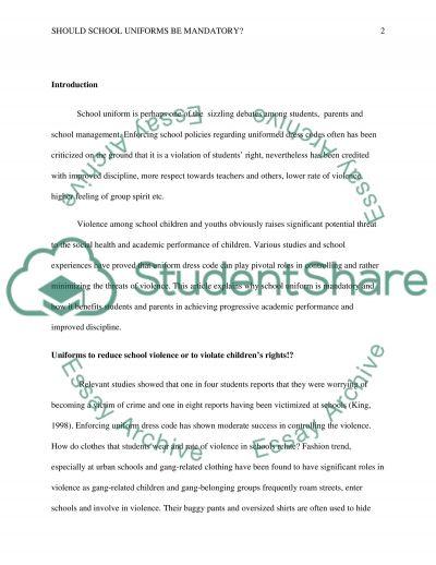 Should school uniforms be mandatory essay example