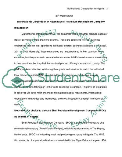 Multinational Corporation in Nigeria: Shell Petroleum Development Company