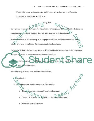 Blooms taxonomy and psychology essay writing