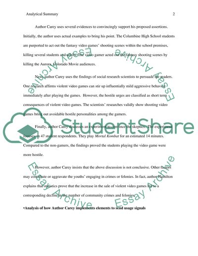 Analytical Summaries Essay Example | Topics and Well Written
