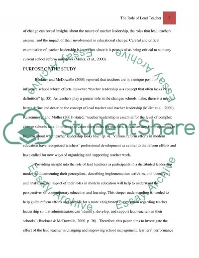 The Role of Lead Teacher essay example