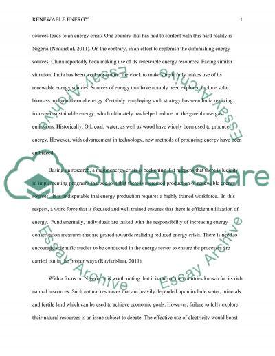 Renewable Energy- essay example