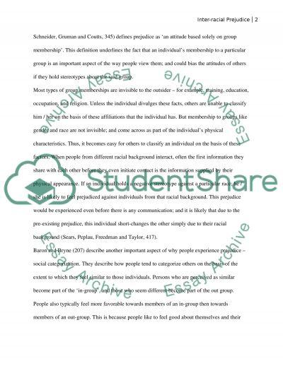 Inter-Recial Prejudice essay example