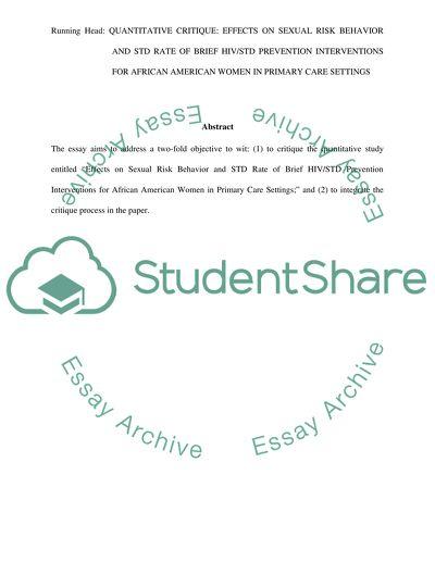 Quantitative Critique Nursing Research Paper Example