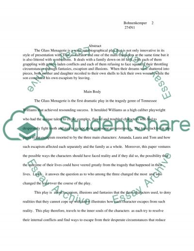 The Glass Menagerie College Book Report/Review essay example