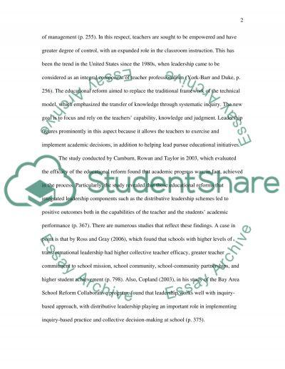 Leadership in Teaching essay example