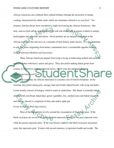 Food and Culture Report essay example