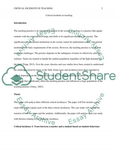 Critical Incidents essay example