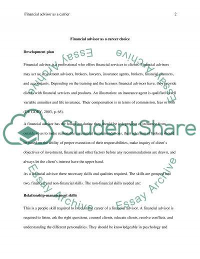 financial advisor as a career choice essay example topics and related essays strategic choice